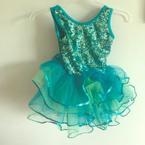 3/$15!! Sequin teal blue dancewear with poofy tutu